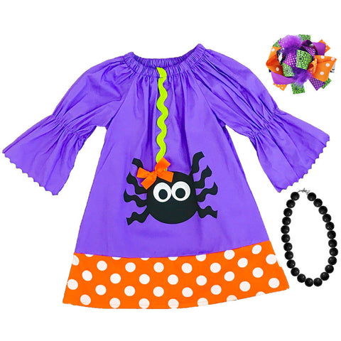 Purple Orange Polka Spider Bow Dress