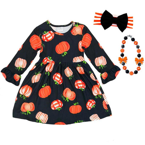 Black Pumpkin Dress Polka Stripe Ruffle
