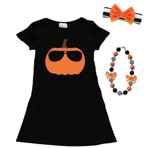 Black Pumpkin Glasses Dress Pocket