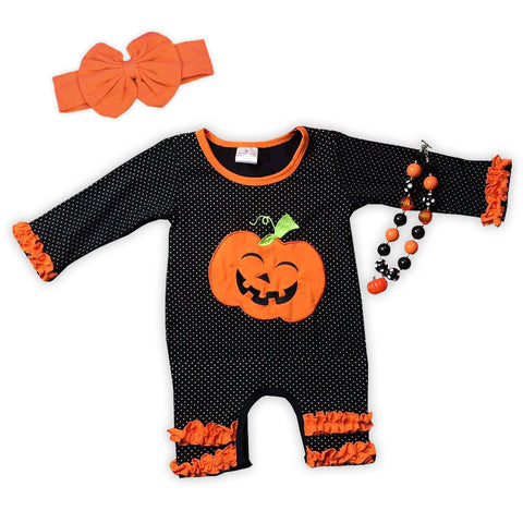 Black Pumpkin Orange Ruffle Romper