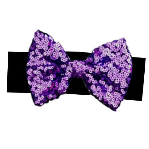 Black Purple Sequin Bow Headband