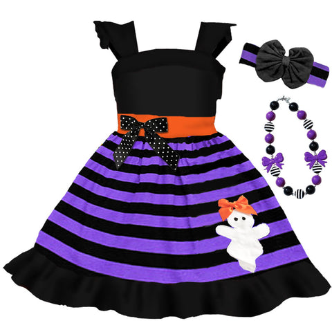 Black Purple Stripe Ghost Bow Dress