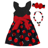Black Red Apple Dress Polka Dot Bow