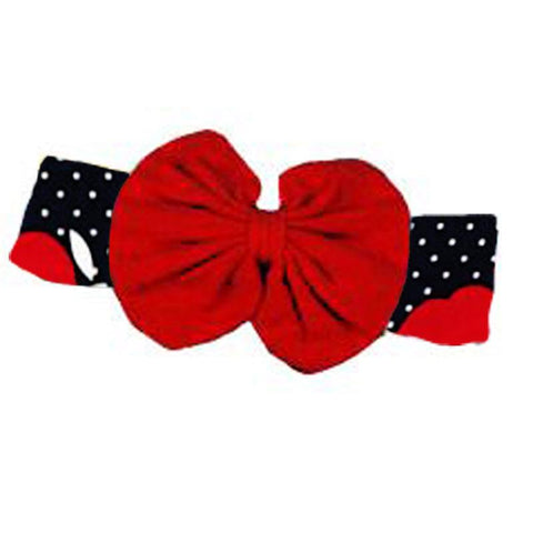 Black Red Apple Messy Bow Headband Polka Dot