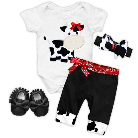 Black Red Cow Bandana Bow Onesie And Pants