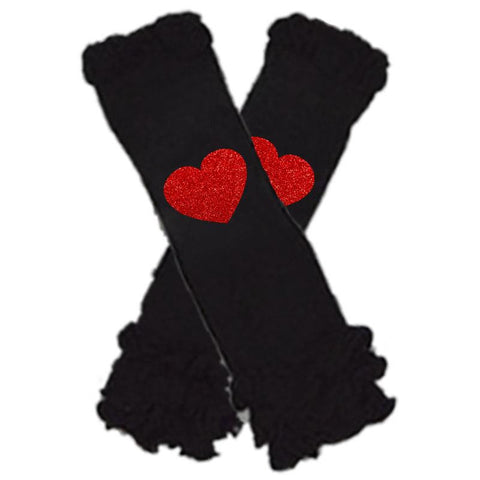 Black Red Heart Leg Warmers Ruffle Sparkle