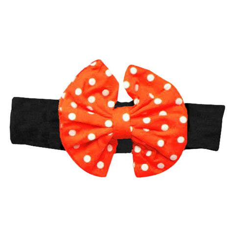 Black Red Orange Polka Messy Bow Headband