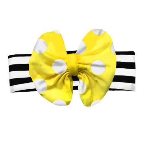 Black Stripe Yellow Polka Messy Bow Headband