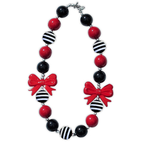 Black Red Stripe Bow Necklace