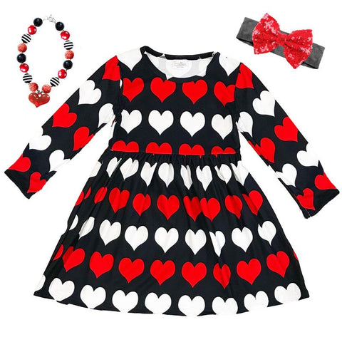 Black Red White Heart Dress