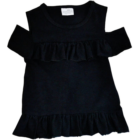 Black Ruffle Off Shoulder Shirt