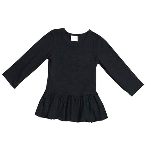 Black Ruffle Shirt Long Sleeve