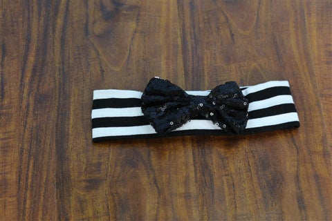 Black Sequin Bow White Stripe Head Wrap