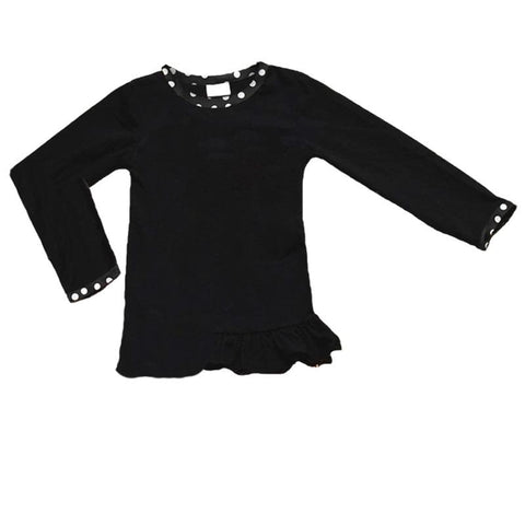 Black Shirt White Polka Dot Trim Long Sleeve