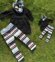 Black Stripe Aztec Baby Doll Scarf Set