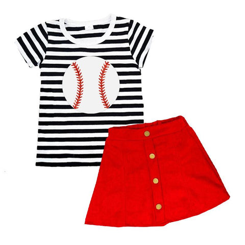 Black Stripe Baseball Outfit Button Red Top And Skirt