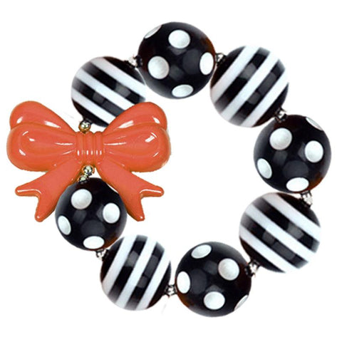 Black Stripe Bracelet Orange Bow Chunky Gumball