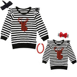 Black Stripe Buffalo Plaid Deer Shirt Ruffle Mommy And Me