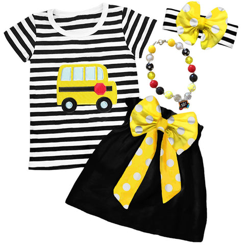 Black Stripe Bus Polka Bow Top And Skirt
