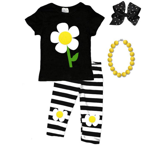 Black Stripe Daisy Outfit Flower Top And Capri