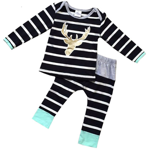 Black Stripe Deer Outfit Gold Shirt And Pants