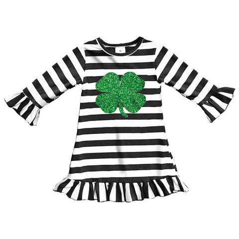 Black Stripe Dress Green Clover Ruffle