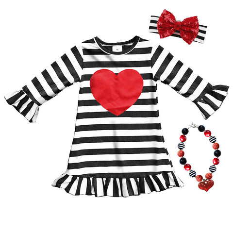 Black Stripe Dress Red Heart Ruffle