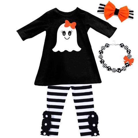 Black Stripe Ghost Outfit Flower Button Top And Pants