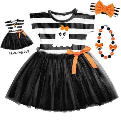 Black Stripe Ghost Tutu Dress Orange Bow Baby And Me