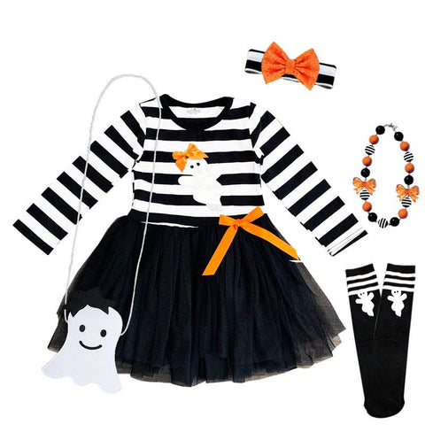 Black Stripe Ghost Tutu Dress Orange Bow