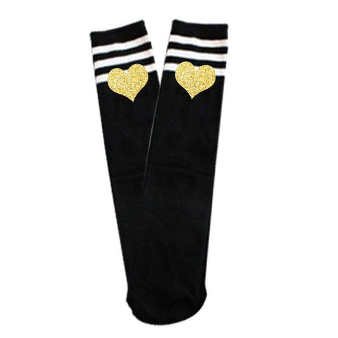 Black Stripe Gold Heart Long Socks