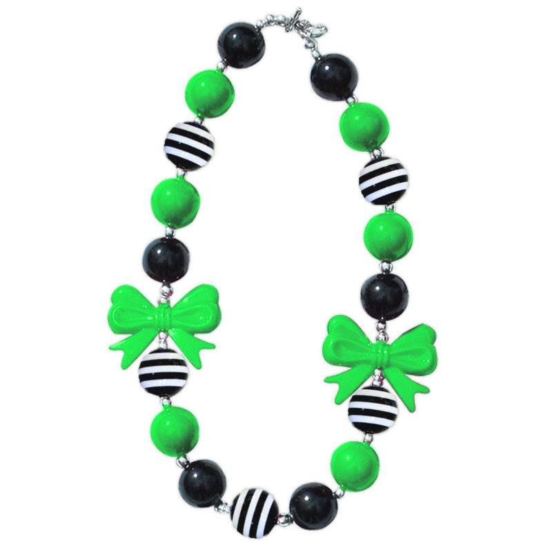Black Stripe Green Bow Necklace