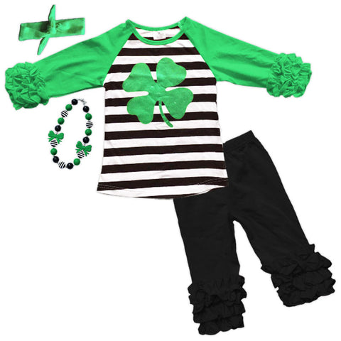 Black Stripe Green Clover Icicle Top And Pants
