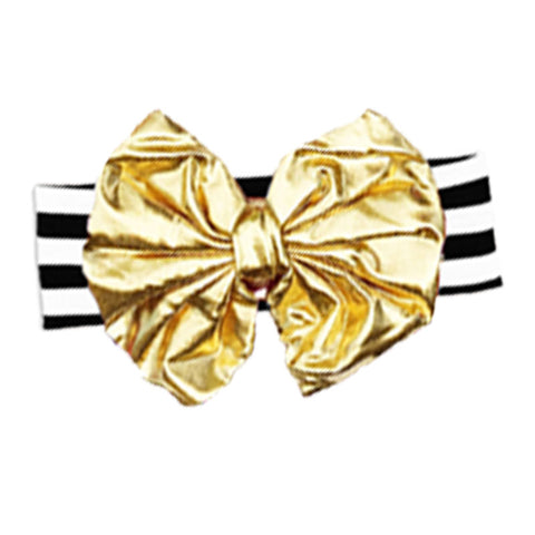 Black Stripe Headband Gold Messy Bow