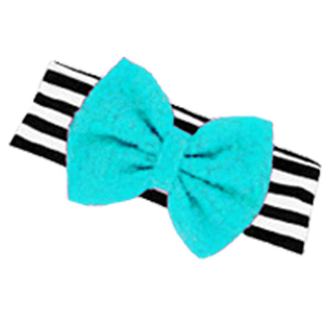 Black Stripe Headband Teal Sequin Messy Bow