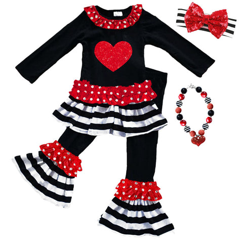 Black Stripe Heart Outfit Red Polka Dot Top And Pants