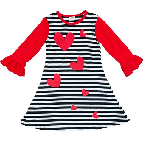 Black Stripe Heart Outfit Red Ruffle Sleeve Dress