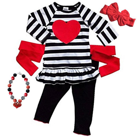 Black Stripe Heart Outfit Red Tie Back Top And Pants