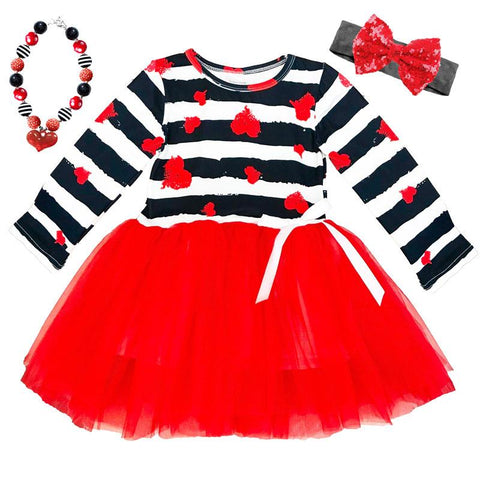 Black Stripe Heart Tutu Red White Bow