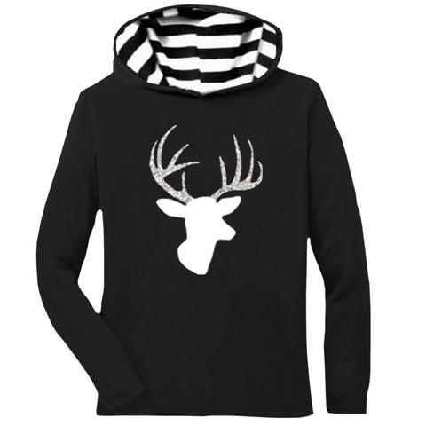 Black Stripe Hoodie Silver Deer Mommy Adult
