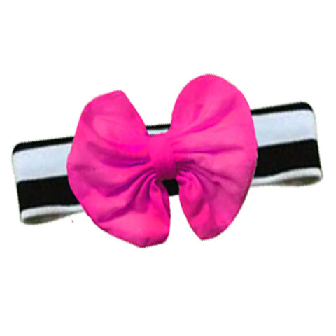 Black Stripe Hot Pink Messy Bow Headband