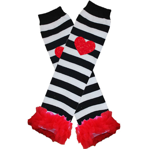 Black Stripe Leg Warmers Red Heart Ruffle