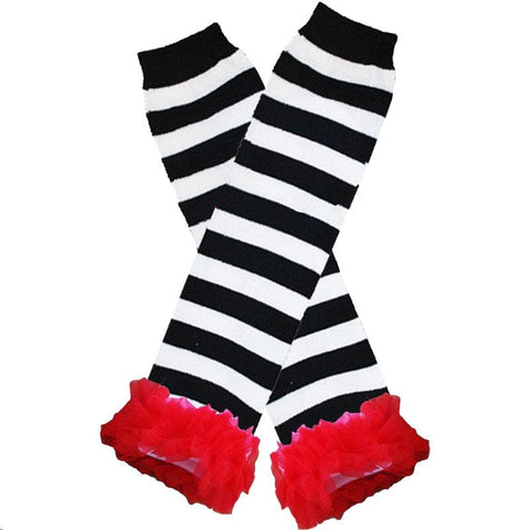 Black Stripe Leg Warmers Red Ruffle