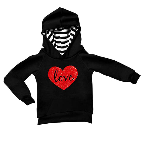 Black Stripe Love Hoodie Red Heart Mommy Me