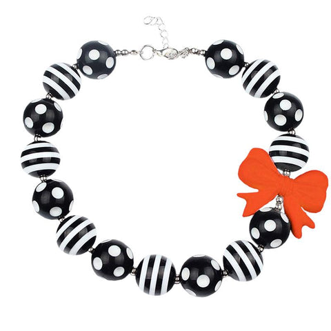 Black Stripe Necklace Orange Bow Chunky Gumball