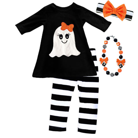 Black Stripe Orange Bow Ghost Top And Pants