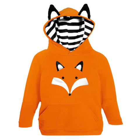 Black Stripe Orange Fox Ears Hoodie