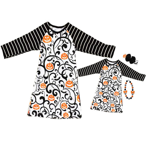 Black Stripe Orange Pumpkin Swirl Mommy And Me Dress