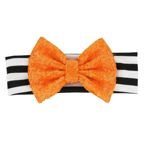 Black Stripe Orange Sequin Bow Headband