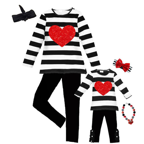 Black Stripe Outfit Heart Red Sparkle Top And Pants